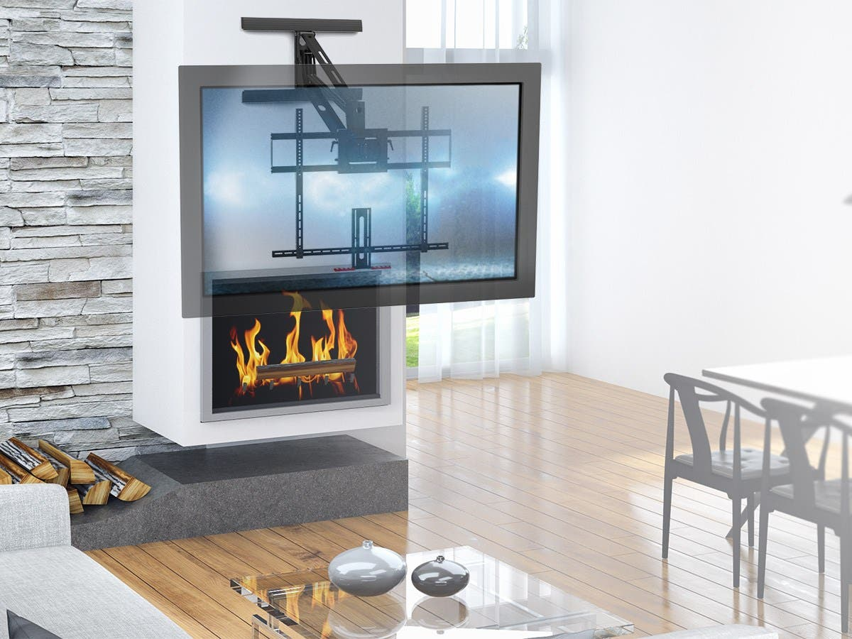 Monoprice Above Fireplace Pull Down Full Motion Articulating Tv Wall