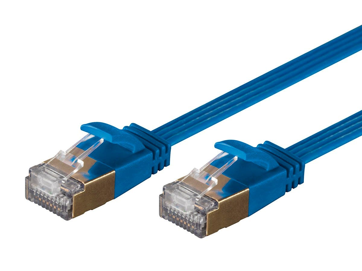 Monoprice SlimRun Cat6A Ethernet Patch Cable - Snagless RJ45, Flat, Stranded, S/STP, Pure Bare Copper Wire, 36AWG, 7ft, Blue-Large-Image-1