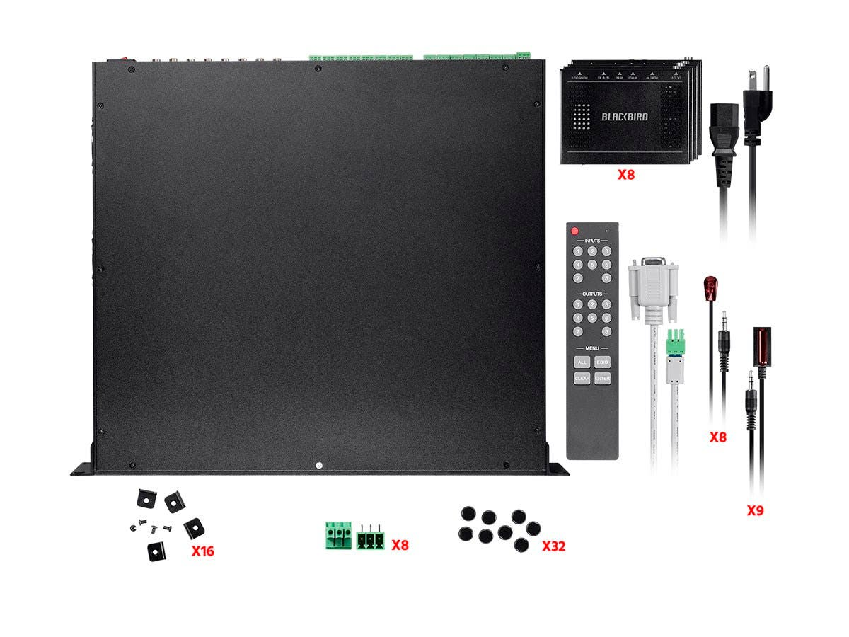 Monoprice Blackbird 4k 18gbps Hdbaset 8x8 Hdmi Matrix Extender Details About 4x4 Cat5e Cat6 Auto Switch Splitter Over With 8 Receivers And