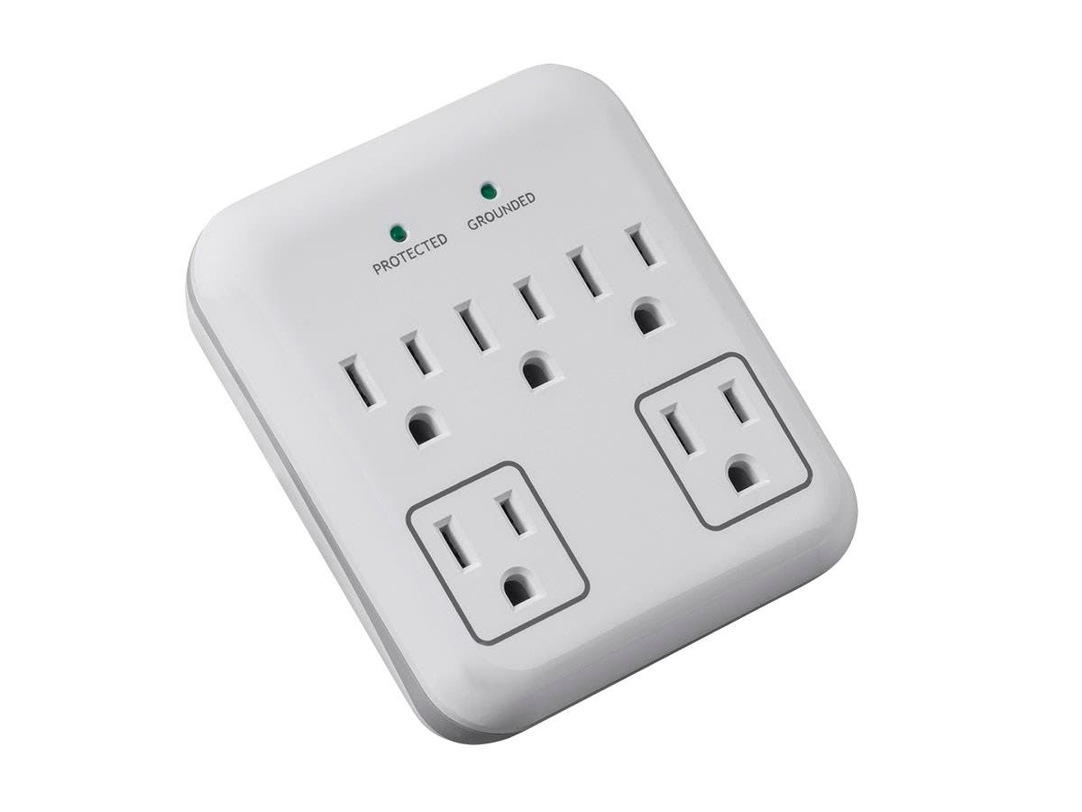 5 Outlet Small Liance Surge Protector With 2 Transformer Outlets 900 Joules White