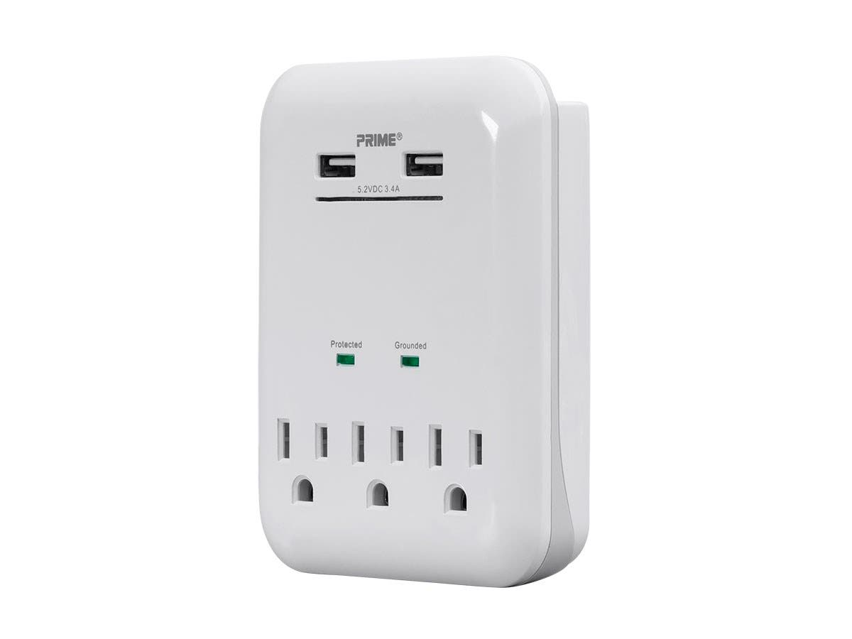 3 Outlet Surge Protector Wall Tap with 2 USB Charging Ports 3.4A, White-Large-Image-1