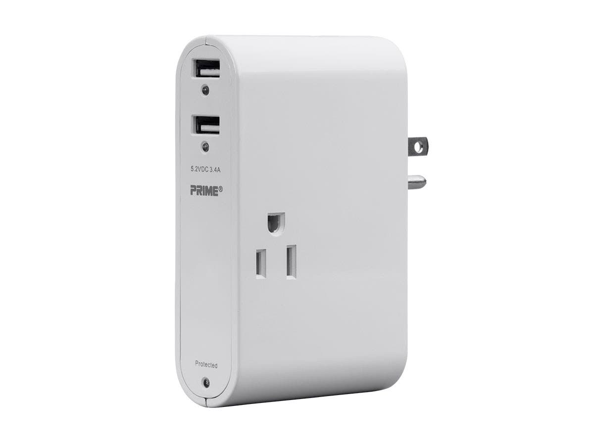 3 Outlet Slim Surge Protector Wall Tap with 2 USB Charging Ports 3.4A and Folding Plug, 350 Joules, White-Large-Image-1