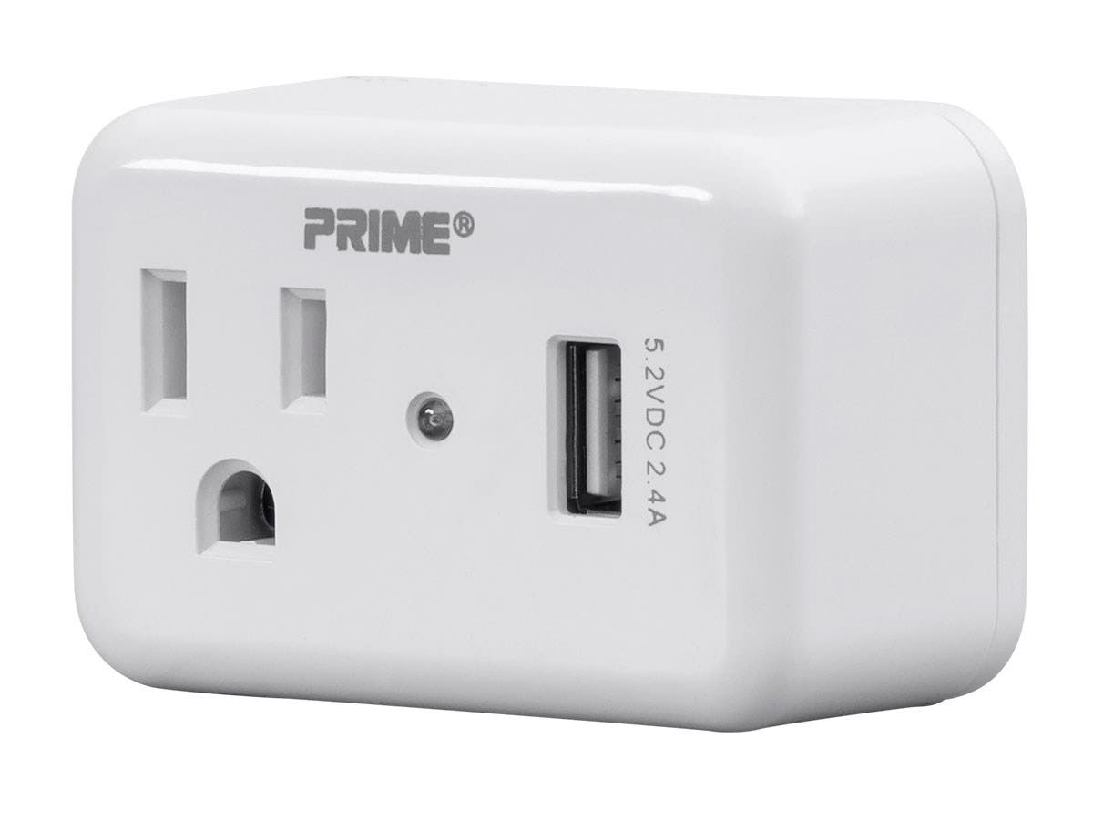 1 Outlet Surge Protector Wall Tap with 2.4A USB Charging Port, 150 Joules, White-Large-Image-1