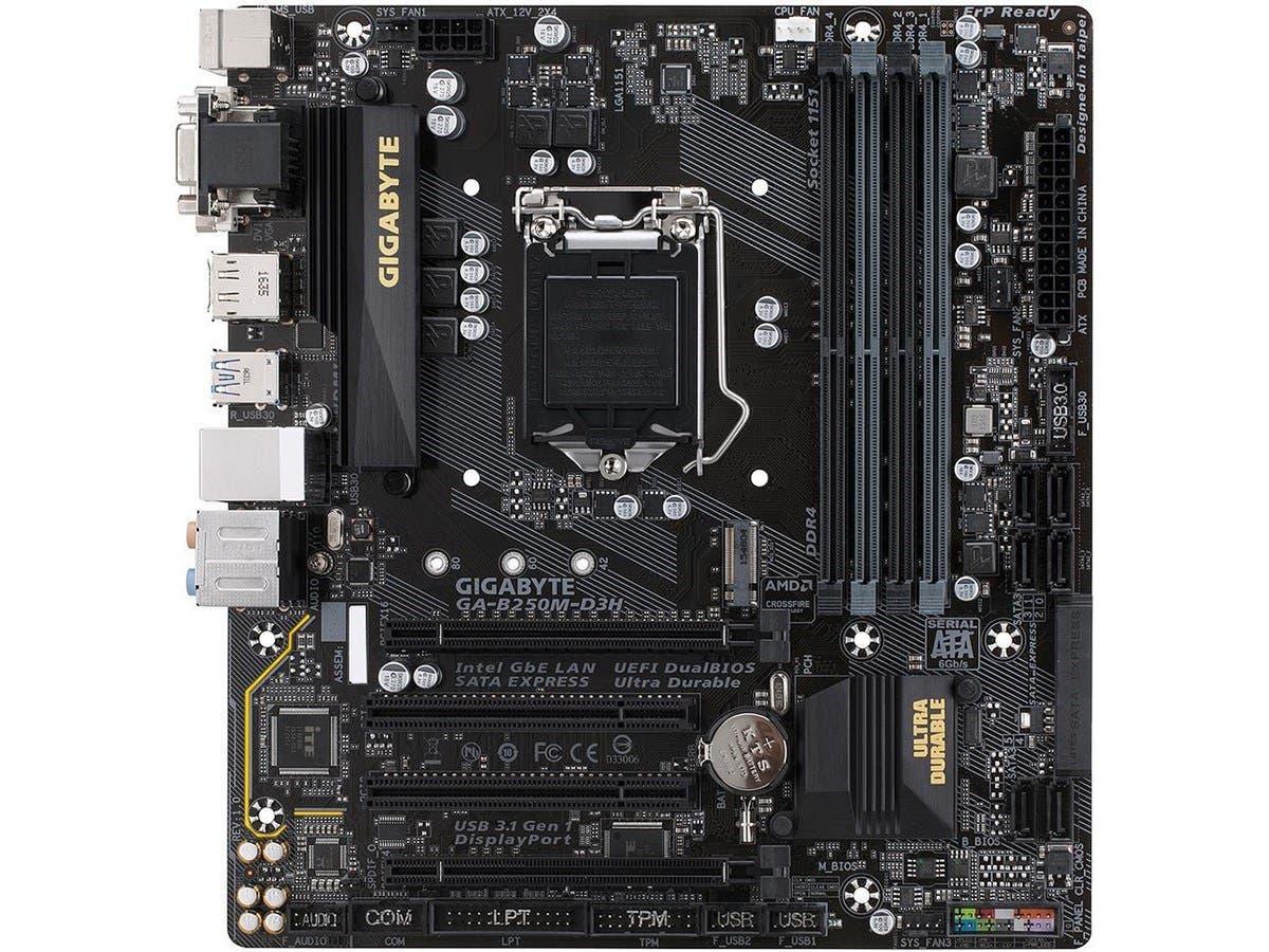 GIGABYTE GA-B250M-D3H (rev. 1.0) LGA 1151 Intel B250 HDMI SATA 6Gb/s USB 3.1 Motherboards - Intel (Open Box)