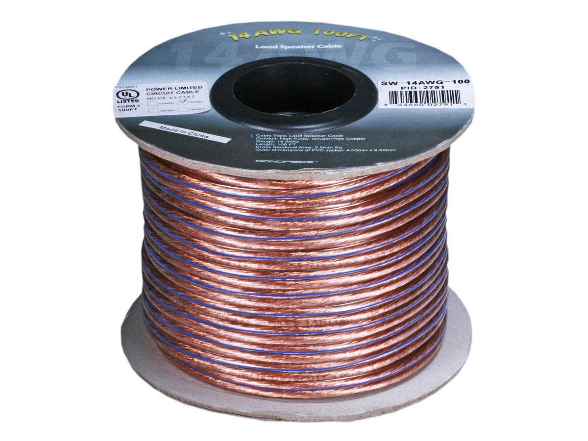 Monoprice Choice Series 14awg Oxygen Free Pure Bare Copper Speaker Wiring Wire 100ft Small