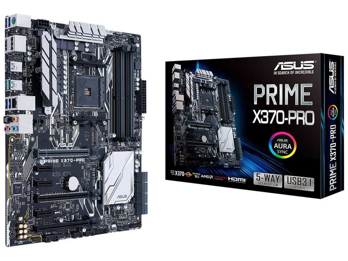 ASUS Prime X370-Pro AMD Ryzen AM4 DDR4 DP HDMI M.2 USB 3.1 ATX X370 Motherboard with AURA Sync RGB Lighting  - main image
