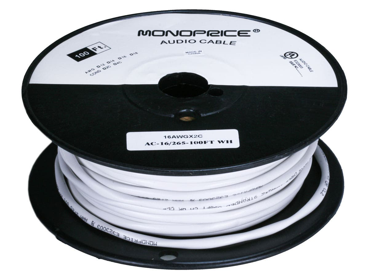 Monoprice Access Series 16awg Cl2 Rated 2 Conductor Speaker Wire Wiring A 45 Amp Cooker Switch 100ft Small