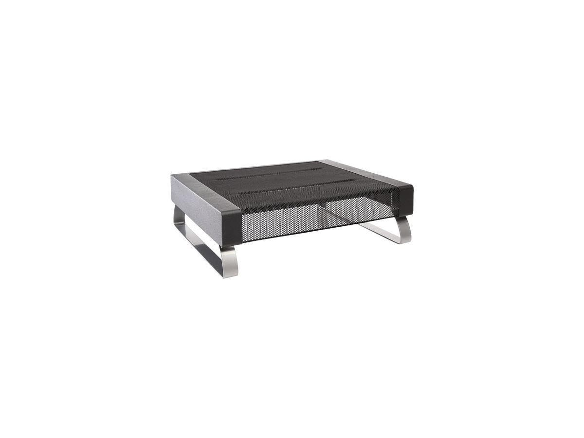 Dymo Small Monitor Stand - Up to 35lb Small Monitor - Black, Silver - Floor-mountable-Large-Image-1
