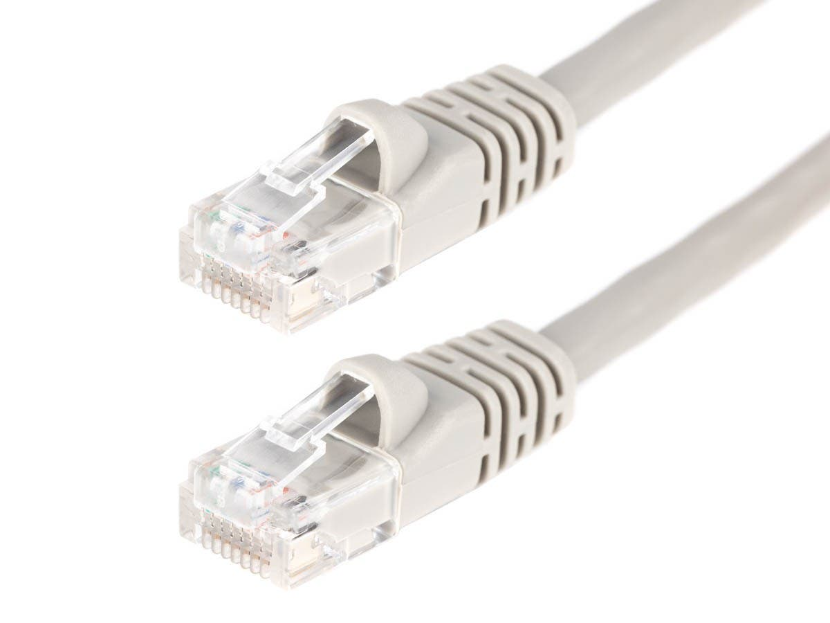 3FT 24AWG Cat5e 350MHz UTP Crossover Bare Copper Ethernet Network Cable - Gray