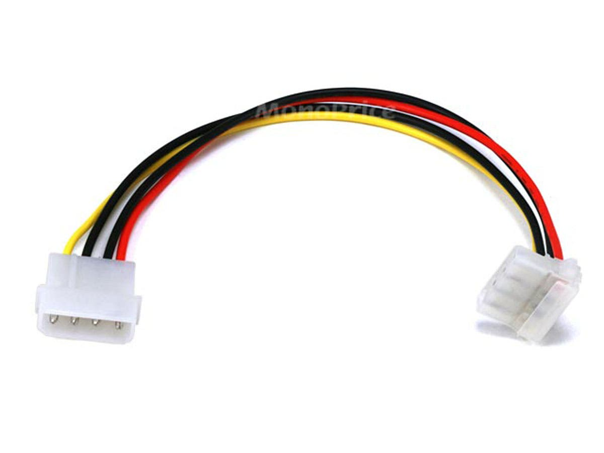 Molex Internal DC Power Extension Cable, 1x 5.25in Male to 1x 90-degree 5.25in Female, 9in