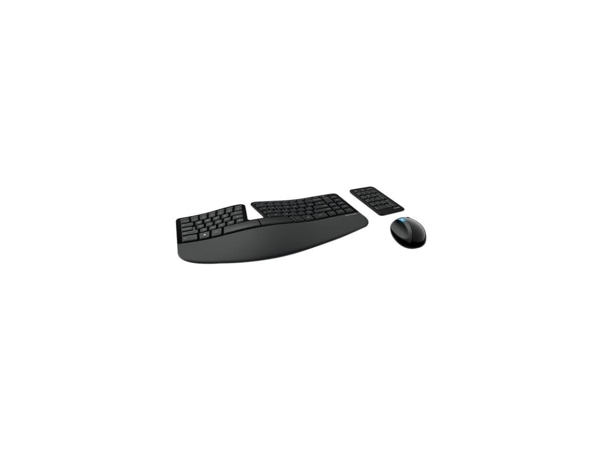 Microsoft Sculpt Ergonomic Desktop - USB 2.0 Wireless RF Keyboard/Keypad - Black - USB 2.0 Wireless RF Mouse - BlueTrack - 1000 dpi - 7 Button - Tilt Wheel - QWERTY - Black (PC)