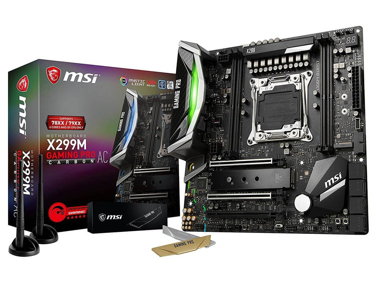 MSI Performance Gaming Intel X299 LGA 2066 DDR4 USB 3.1 SLI Micro ATX Motherboard (X299M GAMING PRO CARBON AC) -Large-Image-1
