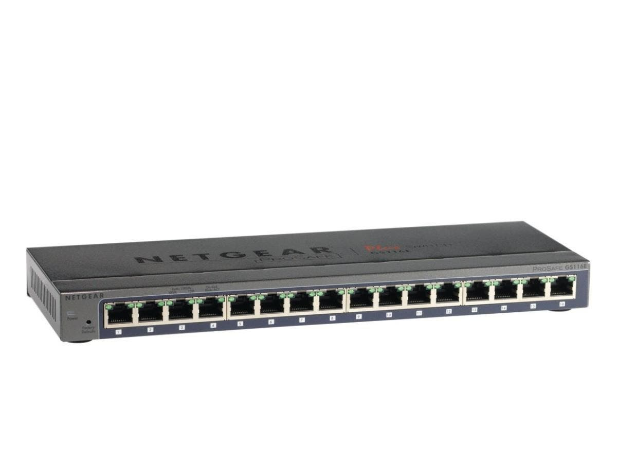 Netgear ProSafe Plus GS116E Ethernet Switch - 16 Ports - 10/100/1000Base-T - 2 Layer Supported - Wall MountableLifetime Limited Warranty-Large-Image-1