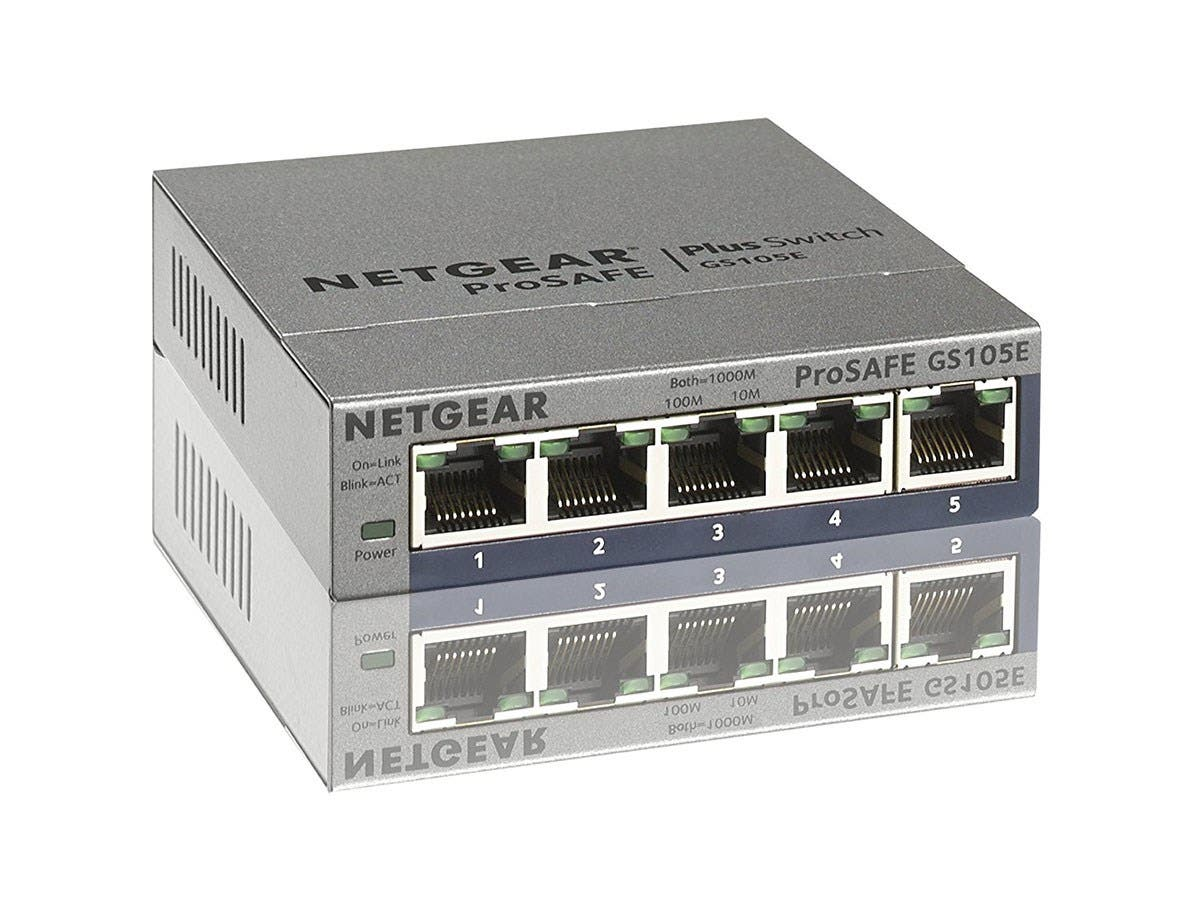 Netgear ProSafe Plus Switch, 5-Port Gigabit Ethernet - 5 Ports - 10/100/1000Base-T - 2 Layer Supported - Wall MountableLifetime Limited Warranty-Large-Image-1