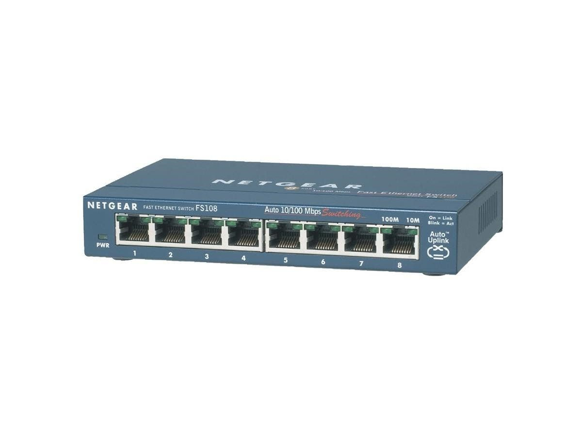 Netgear ProSafe FS108 8 Port Fast Ethernet Switch - 8 x 10/100Base-TX