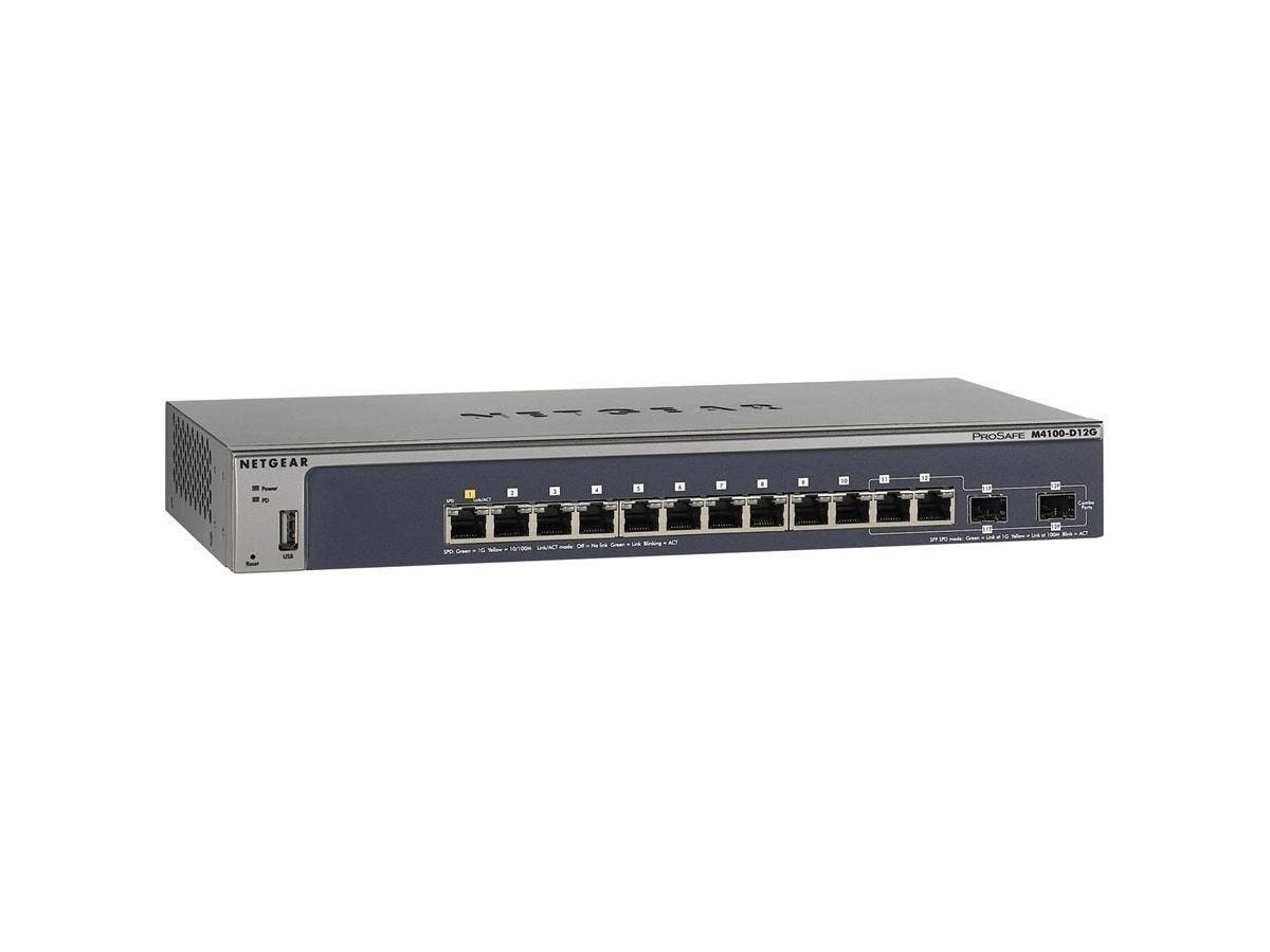 Netgear ProSafe M4100-D12G Ethernet Switch - 12 Ports - Manageable - 2 x Expansion Slots - 10/100/1000Base-T - Twisted Pair - Gigabit Ethernet - Shared SFP Slot - 2 x SFP Slots - 2 Layer Supported - D-Large-Image-1