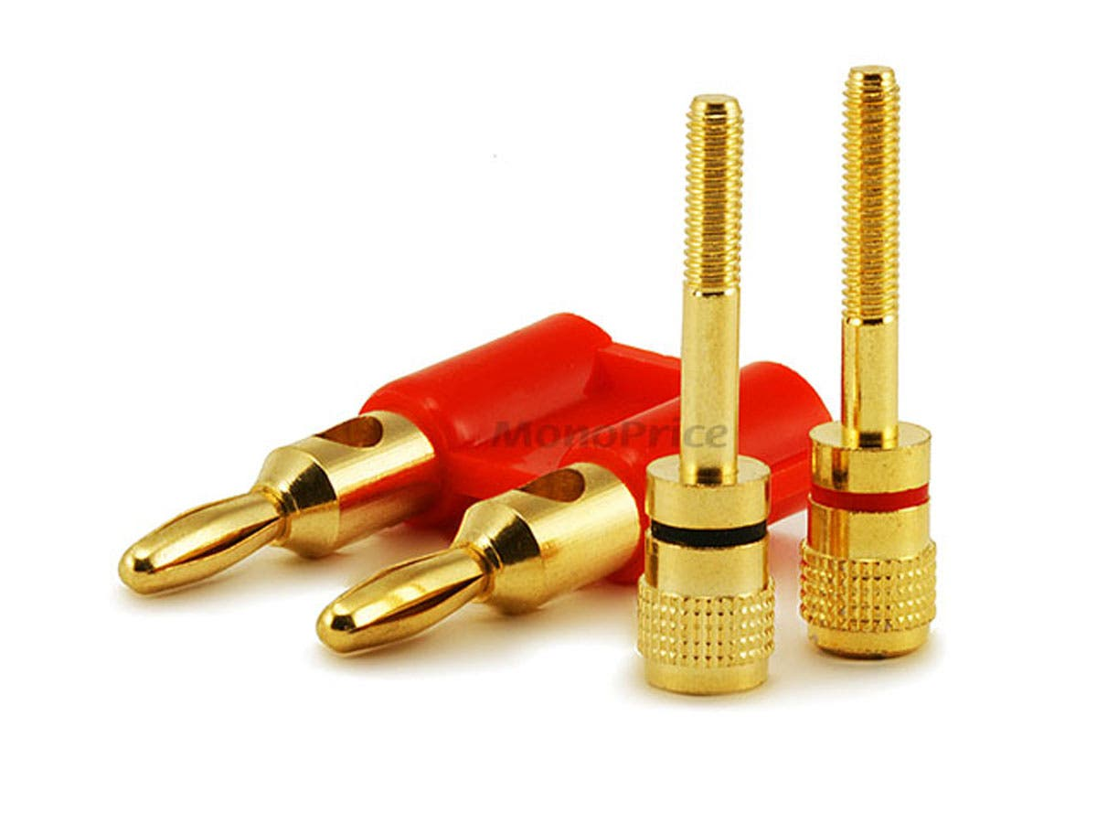 Monoprice Dual High-Quality Gold Plated Speaker Banana Plugs, Red ...