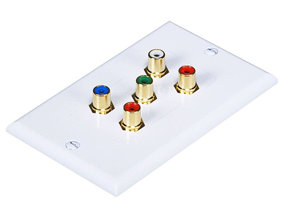 Monoprice 5 RCA Component Two-Piece Inset Wall Plate (RGB + Audio) - Coupler Type-Large-Image-1