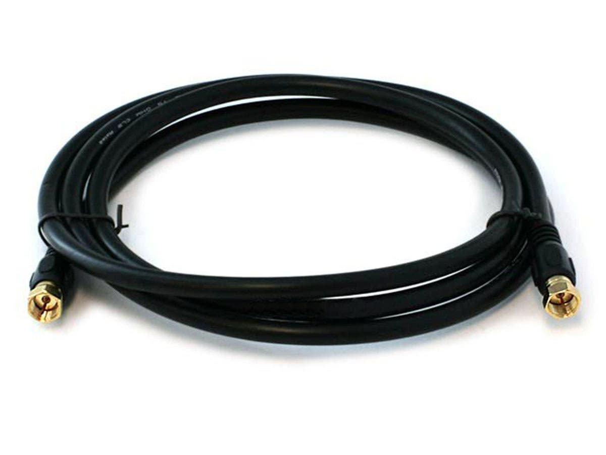 Monoprice 6ft RG6 (18AWG) 75Ohm, Quad Shield, CL2 Coaxial Cable with F Type Connector - Black-Large-Image-1