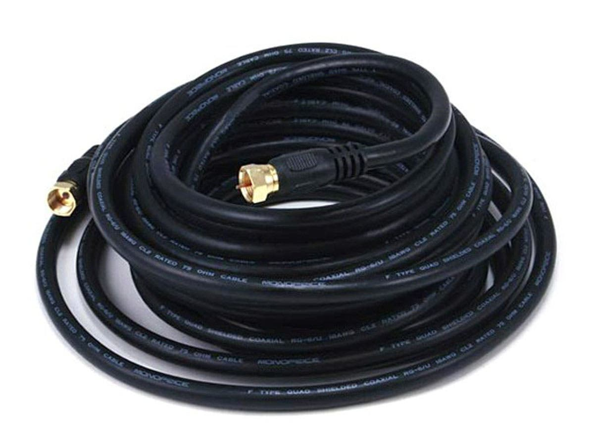25ft RG6 (18AWG) 75Ohm, Quad Shield, CL2 Coaxial Cable with F Type Connector - Black