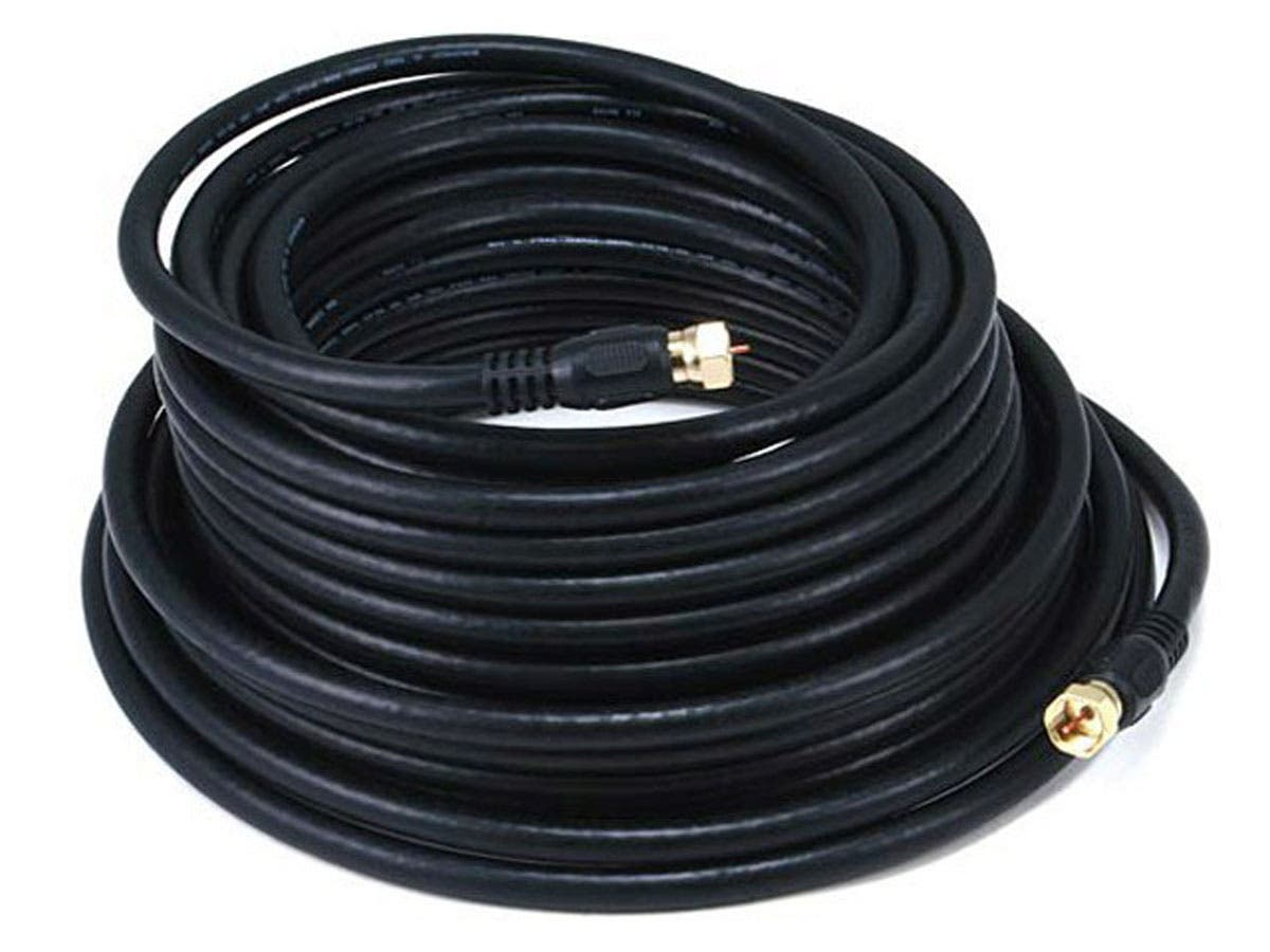 Monoprice 50ft RG6 (18AWG) 75Ohm, Quad Shield, CL2 Coaxial Cable ...