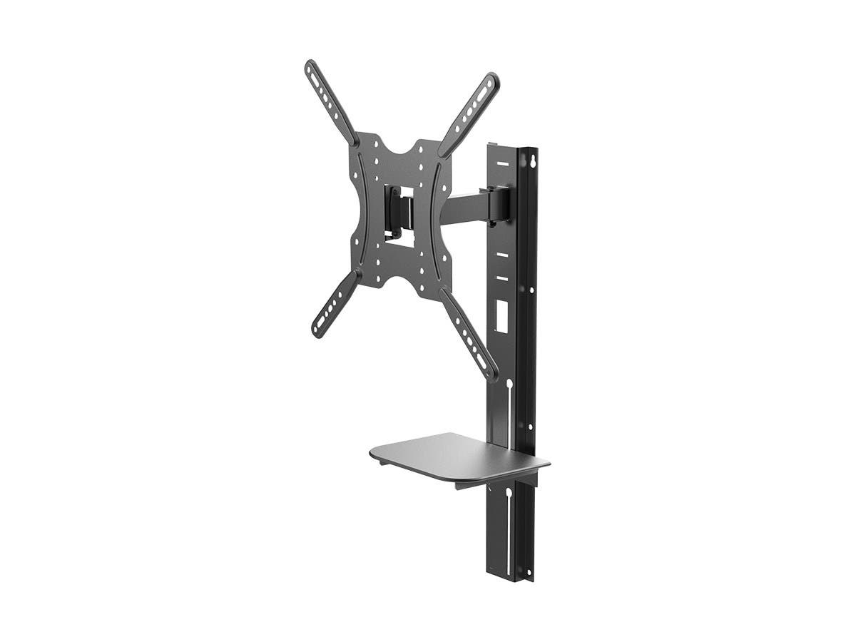 Monoprice Full-Motion Articulating TV Wall Mount Bracket with Media Shelf Bracket - For TVs 32in to 55in, Max Weight 66lbs, Extension Range of 3.8in to 9.4in, VESA Patterns Up to 400x400-Large-Image-1