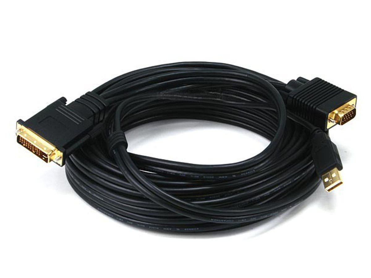 Monoprice 25ft 28AWG VGA & USB (A Type) to M1-D (P&D) Cable - Black - main image