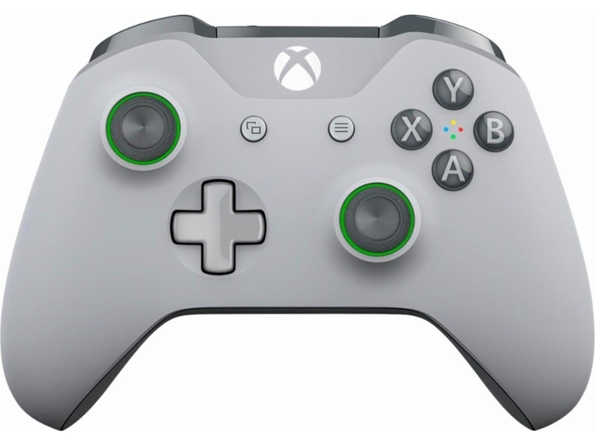 Microsoft Xbox One Wireless Controller - Gray and Green-Large-Image-1