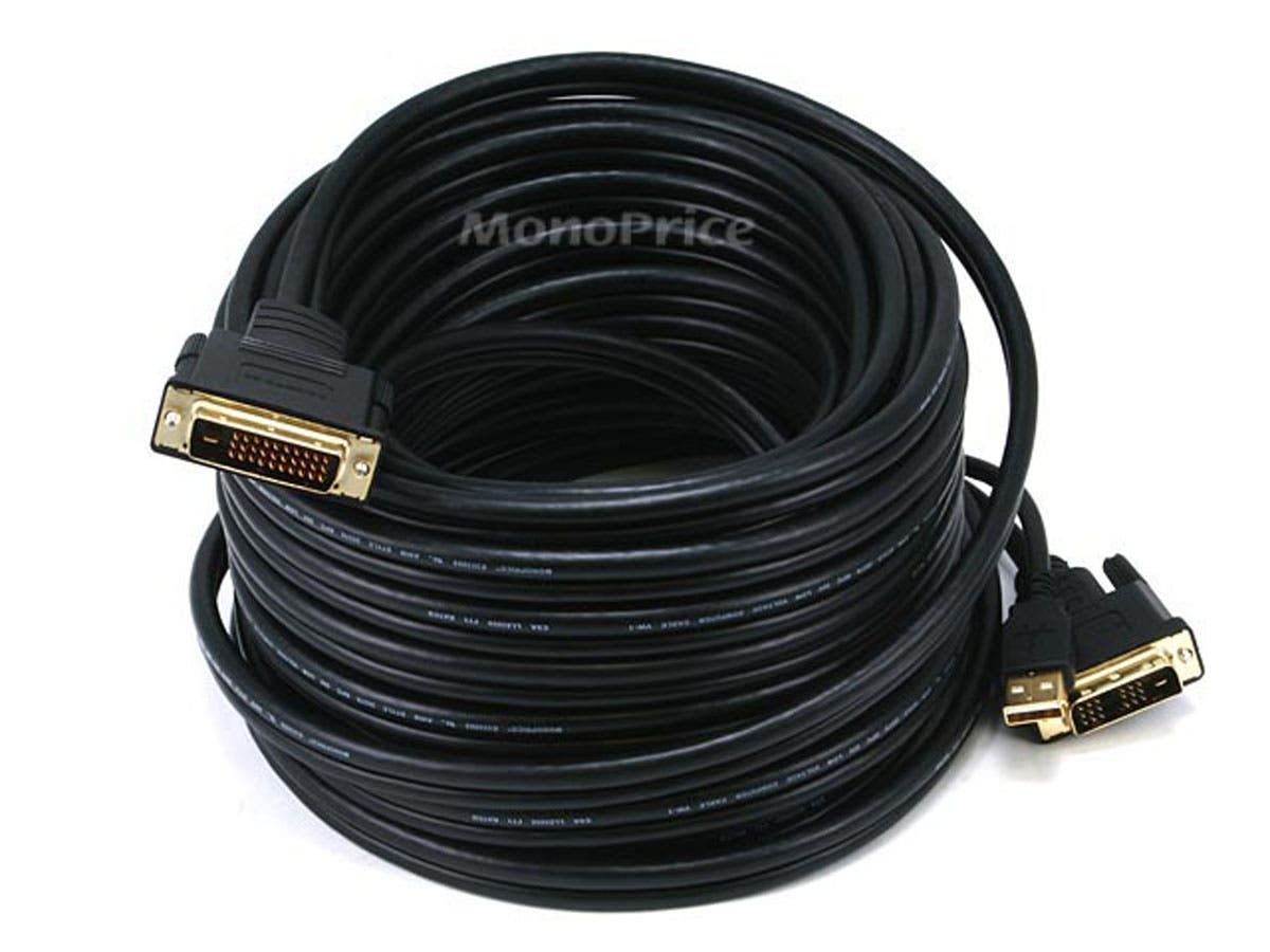 Monoprice 50ft 28AWG DVI-D & USB (A Type) to M1-D (P&D) Cable - Black-Large-Image-1