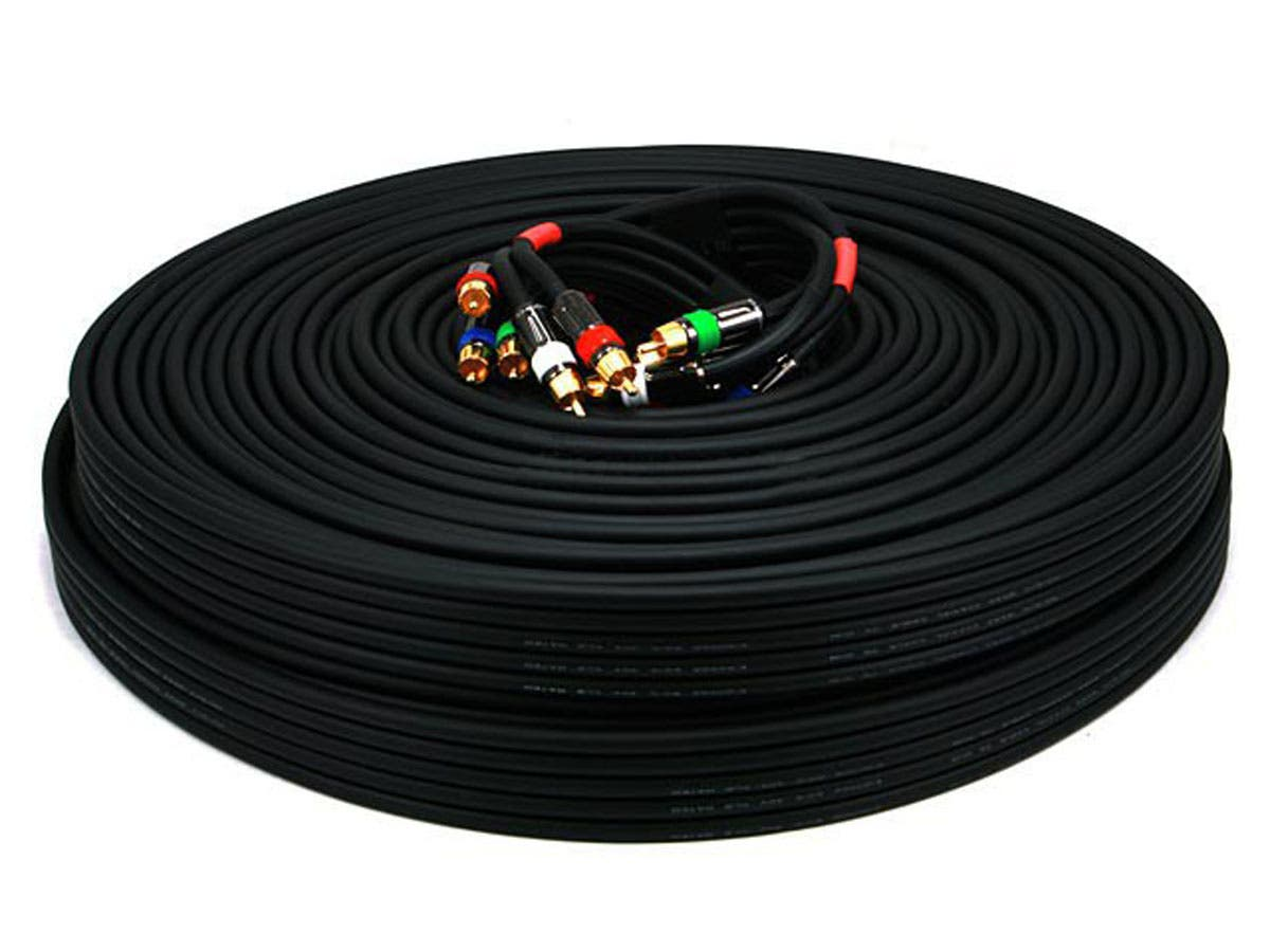 Monoprice 100ft 18AWG CL2 Premium 5-RCA Component Video/Audio Coaxial Cable (RG-6/U) - Black-Large-Image-1