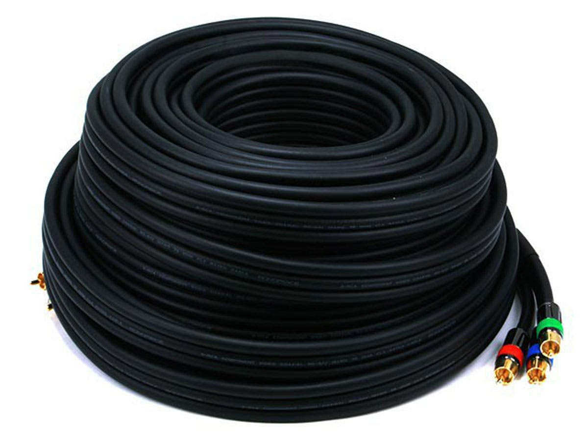 75ft 18AWG CL2 Premium 3-RCA Component Video Coaxial Cable (RG-6/U) - Black