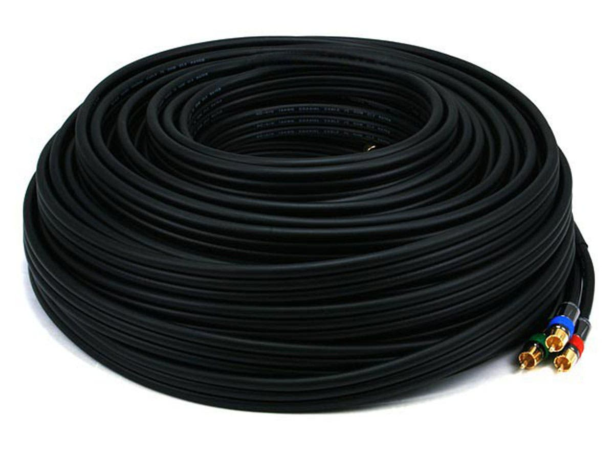 Monoprice 100ft 18AWG CL2 Premium 3-RCA Component Video Coaxial Cable (RG-6/U) - Black-Large-Image-1