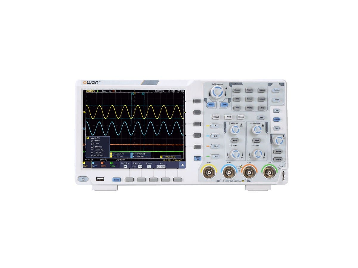 Monoprice 4 Channel Touchscreen Digital Oscilloscope, 60MHz, 1GS/s, 8 bits, 40m Record Length-Large-Image-1