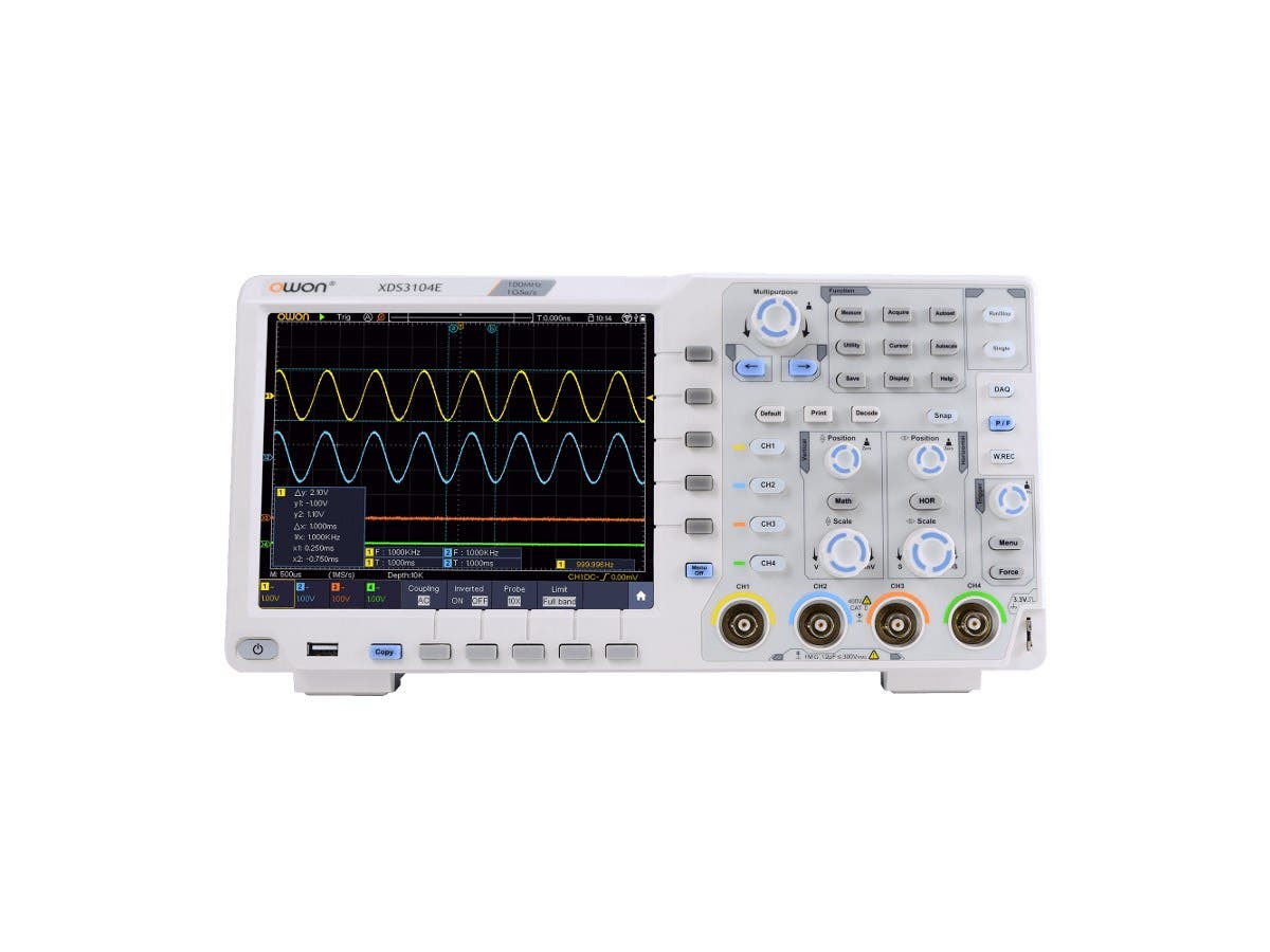 Monoprice 4 Channel Touchscreen Digital Oscilloscope, 100MHz, 1GS/s, 8 bits, 40m Record Length-Large-Image-1