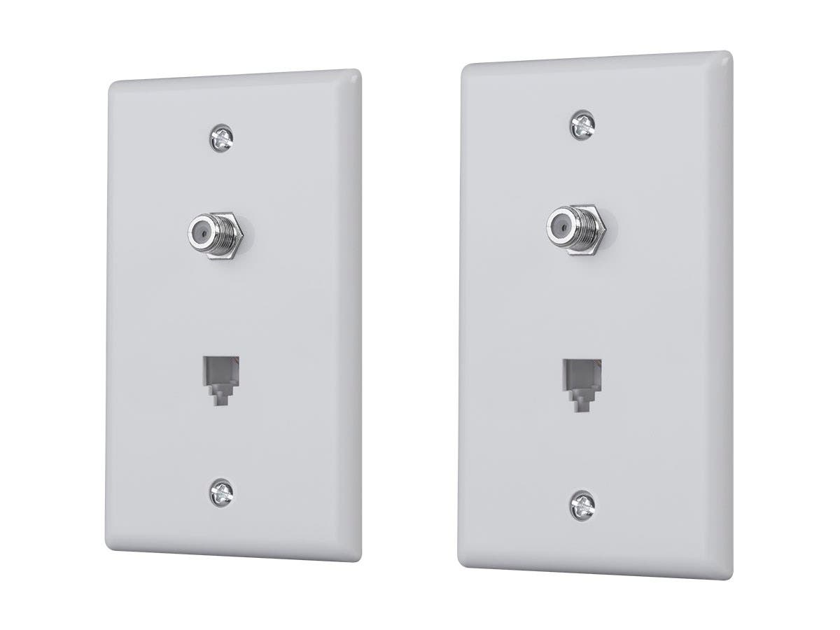 Monoprice Combo Phone/Video Jack Plate, White, 2-pack-Large-Image-1