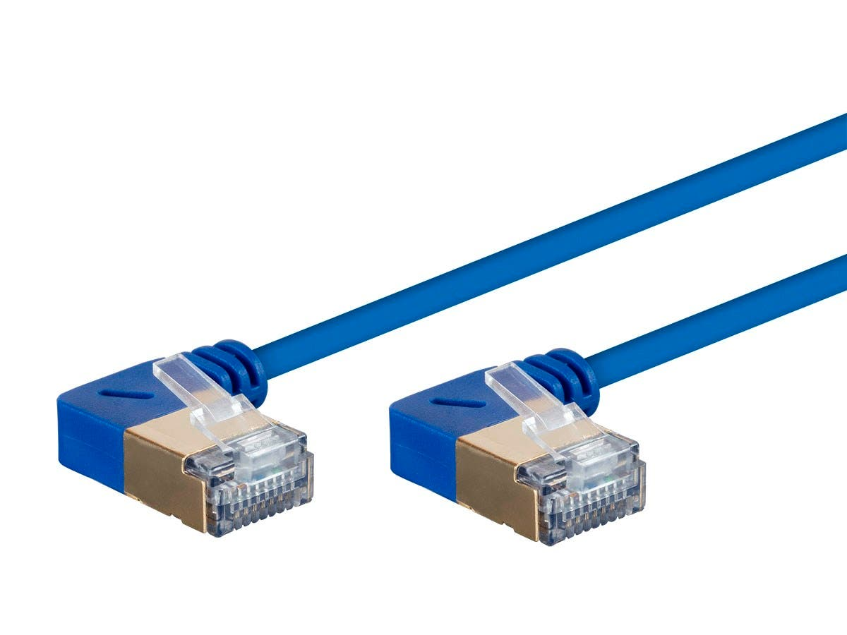 Monoprice SlimRun Cat6A 90 Degree 36AWG S/STP Ethernet Network Cable, 2ft Blue - main image