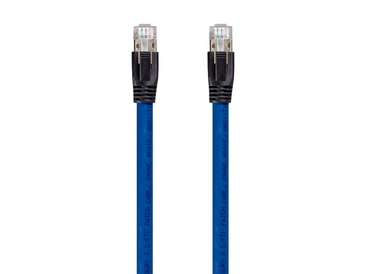 Monoprice Entegrade Series Cat8 24AWG S/FTP Ethernet Network Cable, 2GHz, 40G, 0.5ft Blue - main image