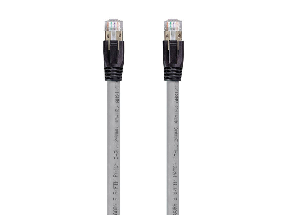 Monoprice Entegrade Series Cat8 24AWG S/FTP Ethernet Network Cable, 2GHz, 40G, 50ft Gray - main image