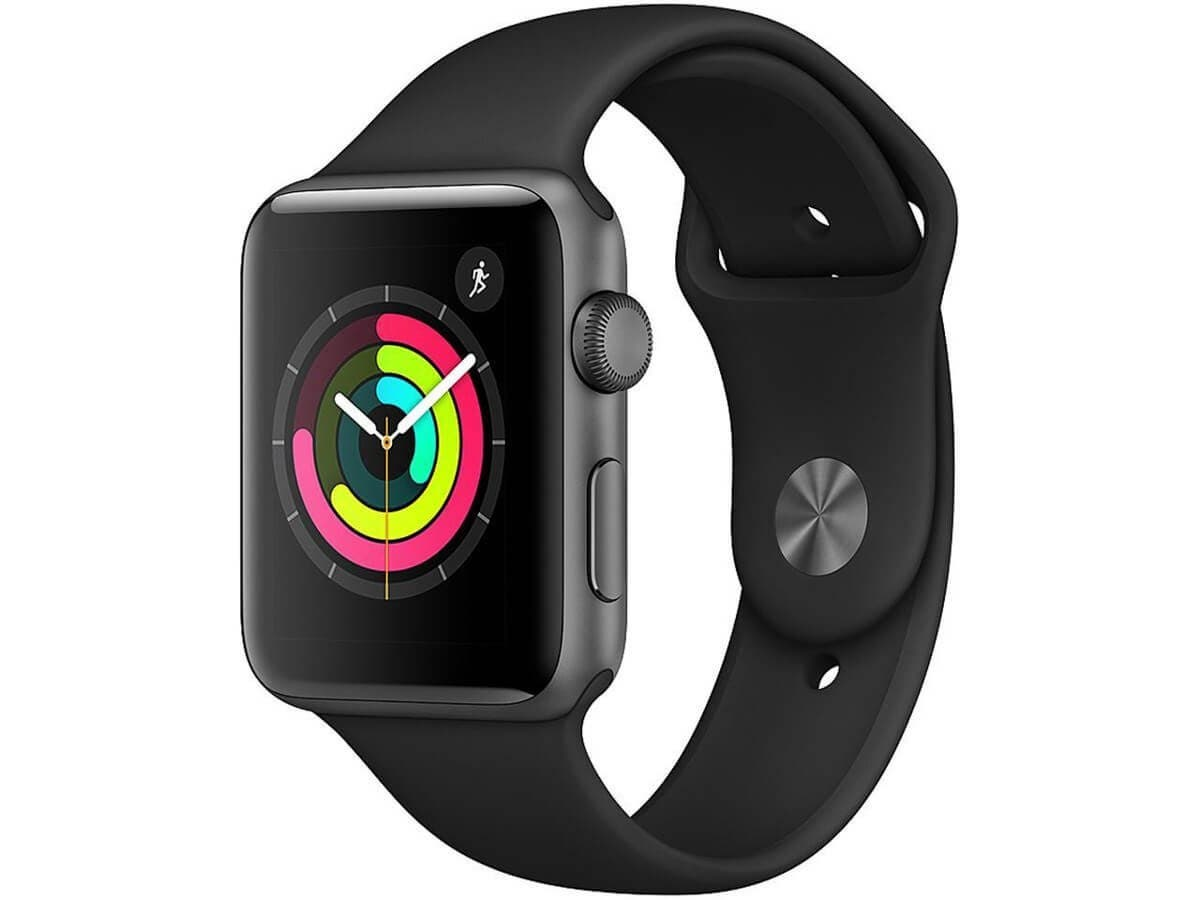 Apple Watch Series 3 GPS, 42mm Space Gray Aluminum Case with Black Sport Band (Open Box)-Large-Image-1