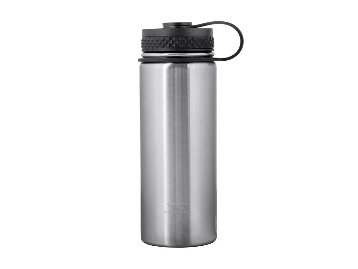 Pure Outdoor by Monoprice Vacuum Sealed 18 fl. oz. Wide-Mouth Water Bottle, Stainless Steel-Large-Image-1