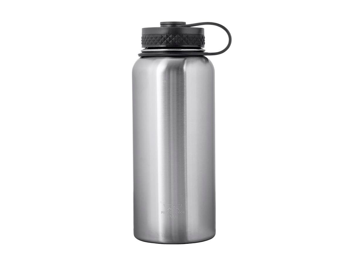 Pure Outdoor by Monoprice Vacuum Sealed 32 fl. oz. Wide-Mouth Water Bottle, Stainless Steel-Large-Image-1