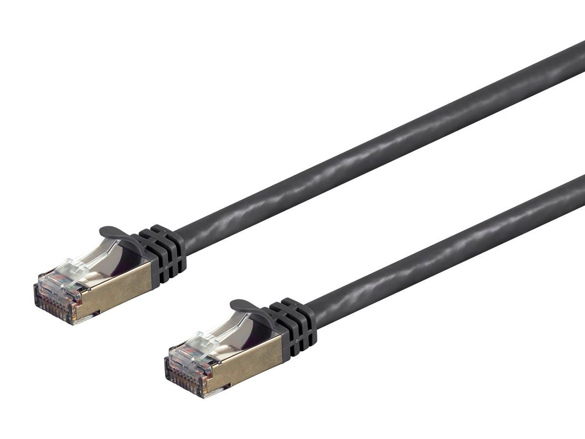 Monoprice Entegrade Series Cat7 Double Shielded (S/FTP) Ethernet Patch Cable - Snagless RJ45, 600MHz, 10G, 26AWG, 0.5ft, Black - main image