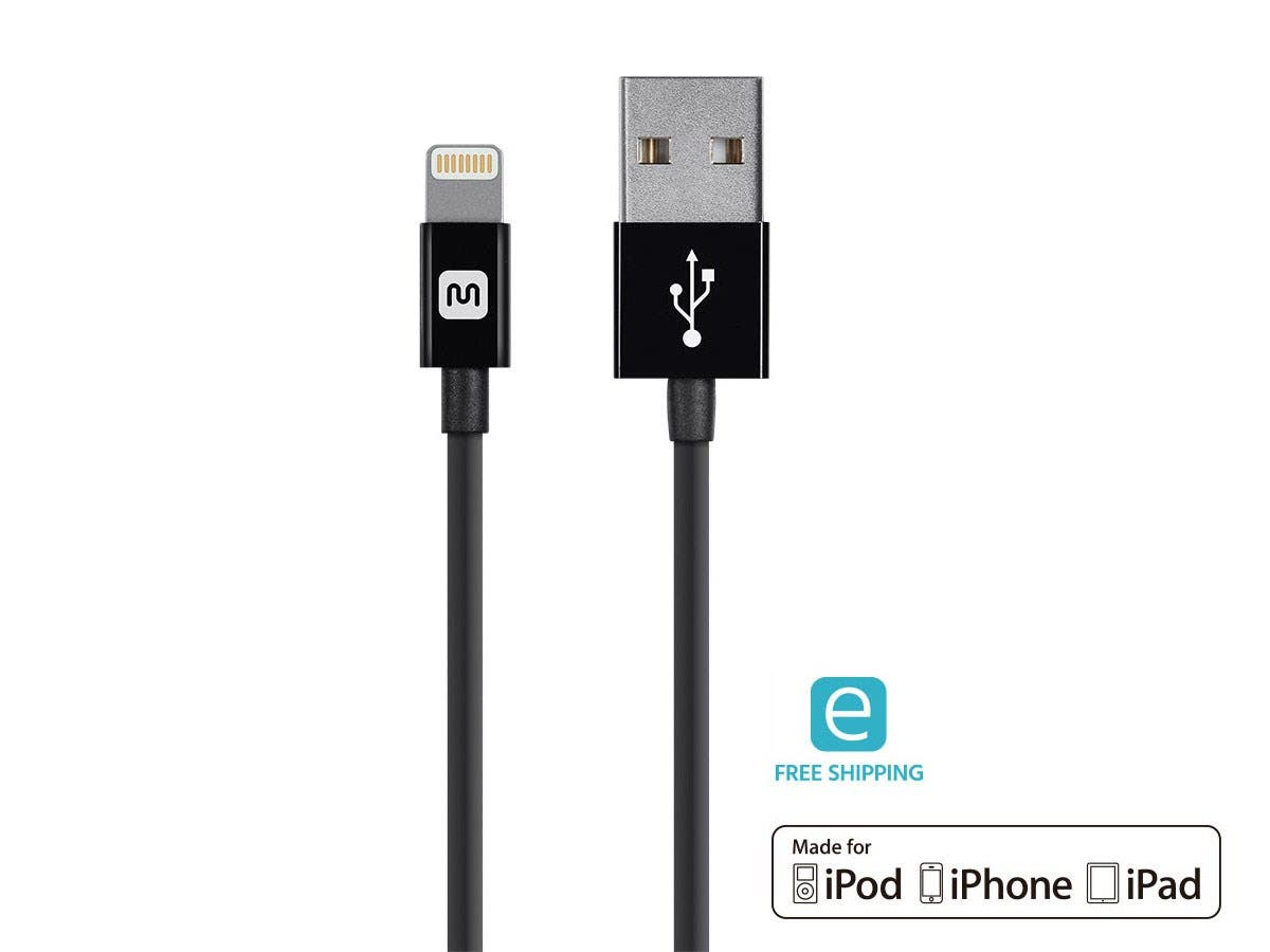 Monoprice Essentials Apple MFi Certified Lightning to USB Charge & Sync Cable, 4ft Black-Large-Image-1