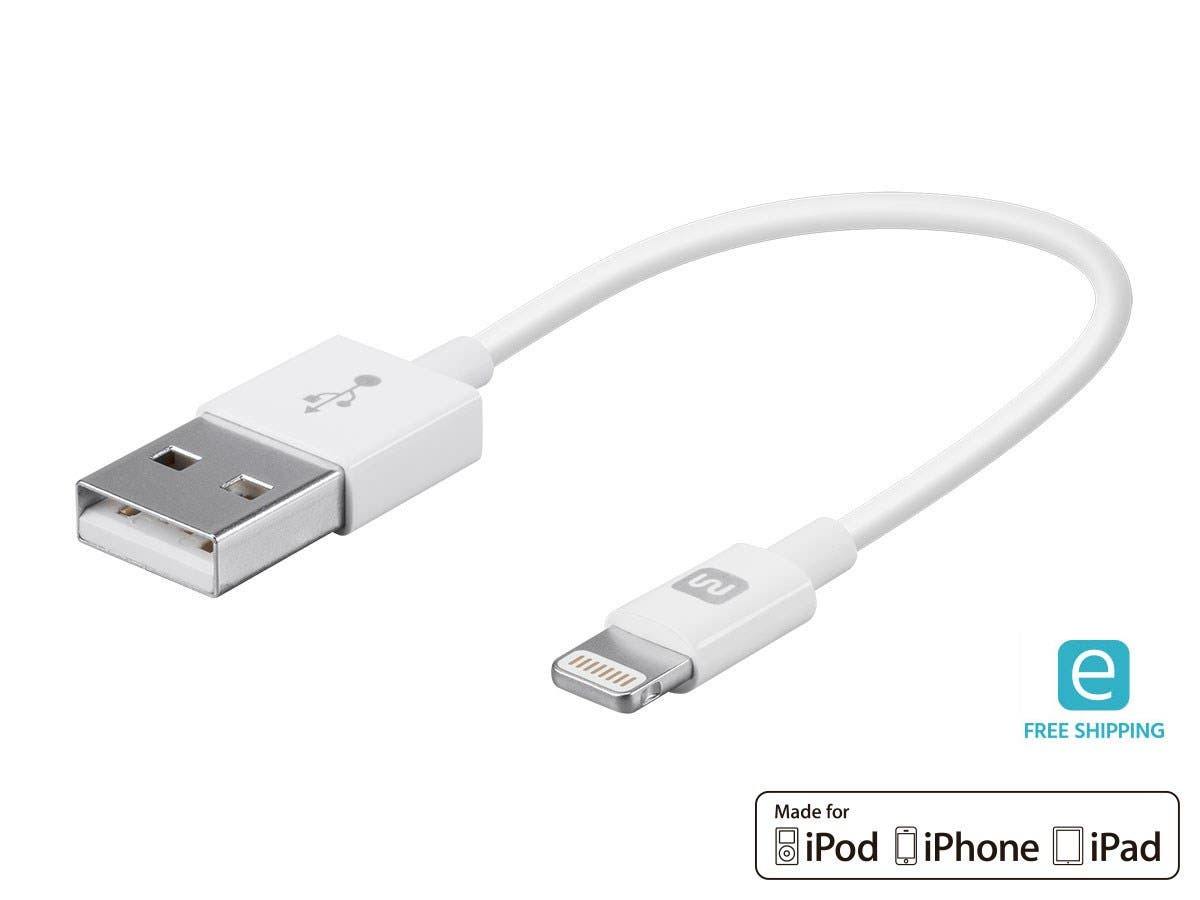 Monoprice Essentials Apple MFi Certified Lightning to USB Charge & Sync Cable, 6-inch White-Large-Image-1