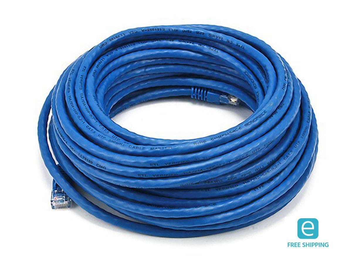 Monoprice Essentials Cat6 24AWG UTP Ethernet Network Patch Cable, 50ft Blue-Large-Image-1
