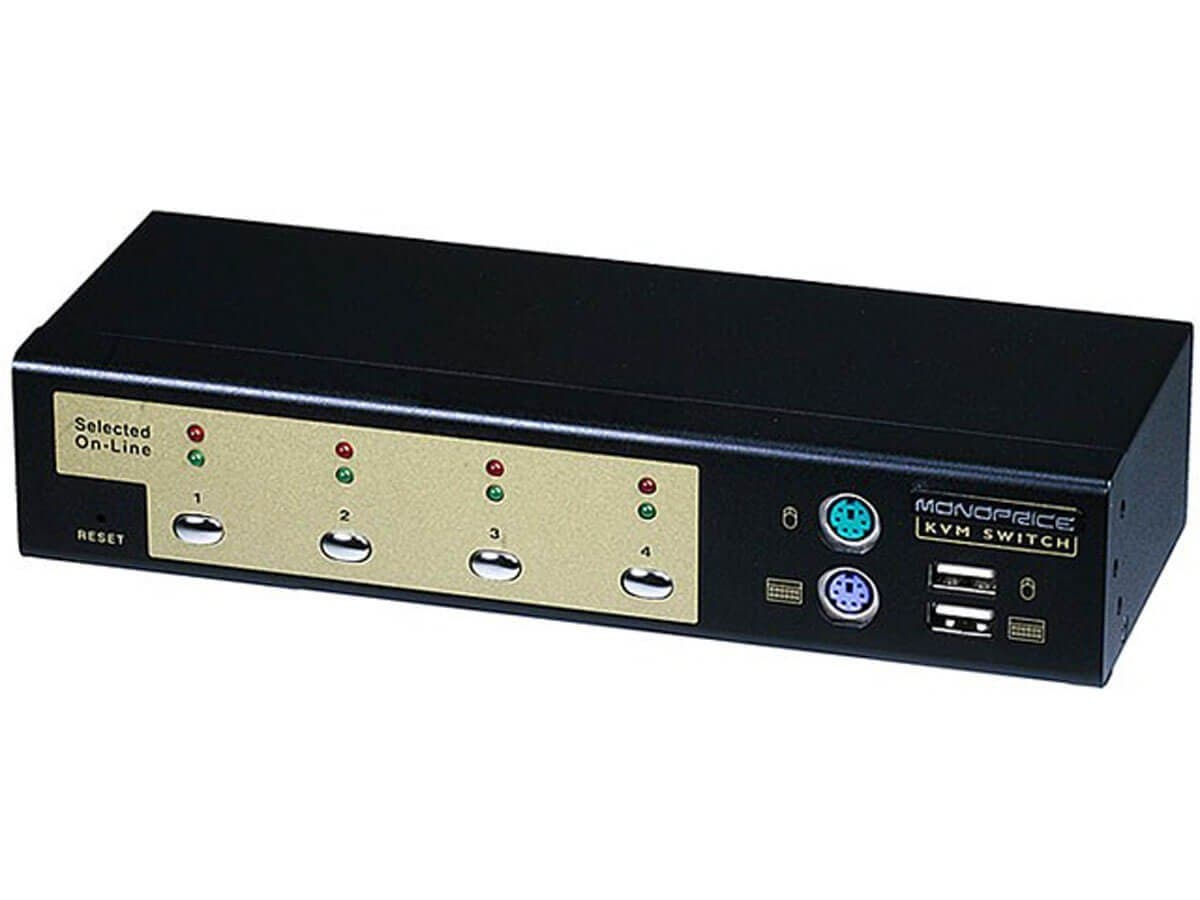 Monoprice 4-Port USB PS2 Combo KVM Switch with Cables Retail (Open Box)-Large-Image-1