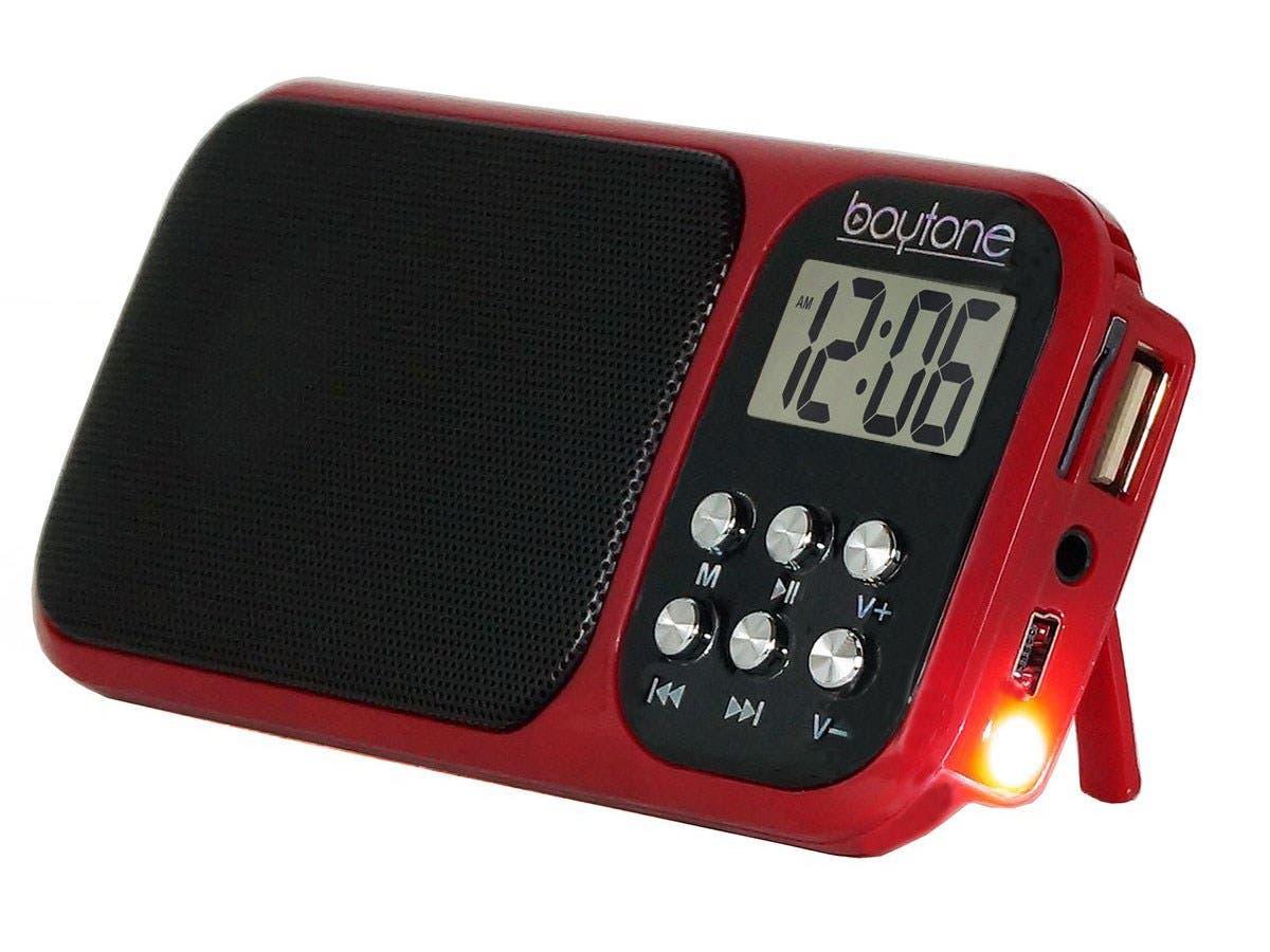 Boytone Portable FM Transistor Radio Alarm Clock with ...