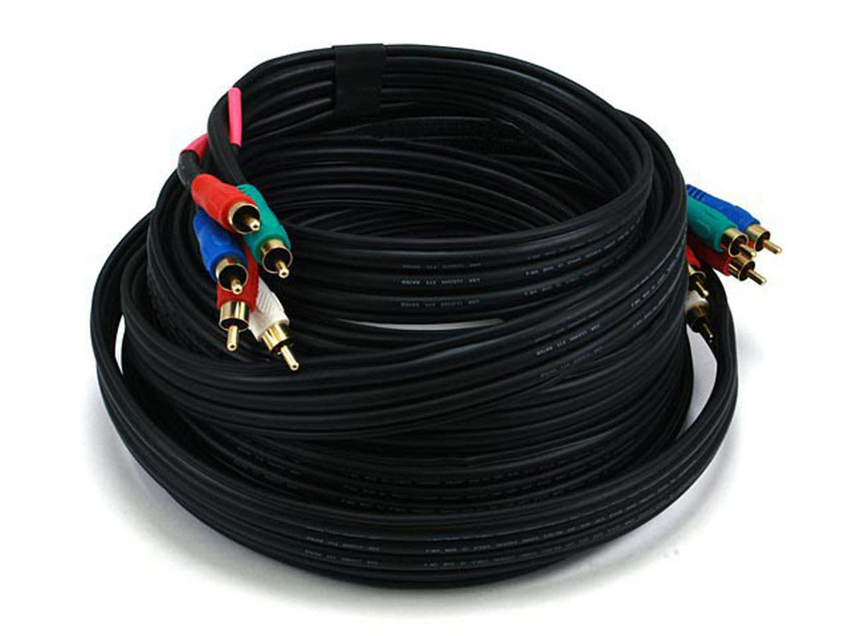 Monoprice 25ft 22AWG 5-RCA Component Video/Audio Coaxial Cable (RG-59/U) - Black-Large-Image-1