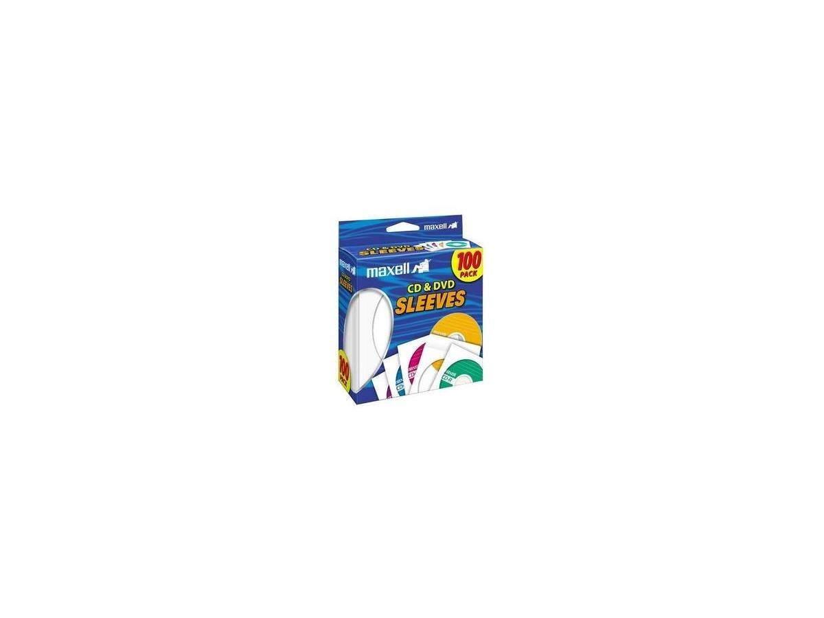 Maxell CD-402 CD/DVD Sleeves (100-Pack) - Sleeve - Slide Insert - White-Large-Image-1