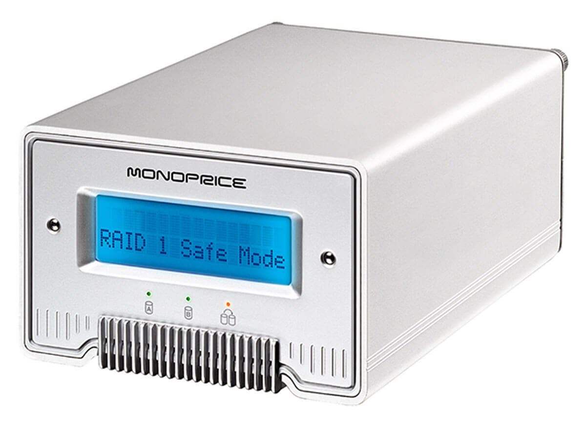 Monoprice 2.5 Dual Bay eSATA Firewire 800 and USB 2.0 RAID HDD Enclosure (Open Box)-Large-Image-1